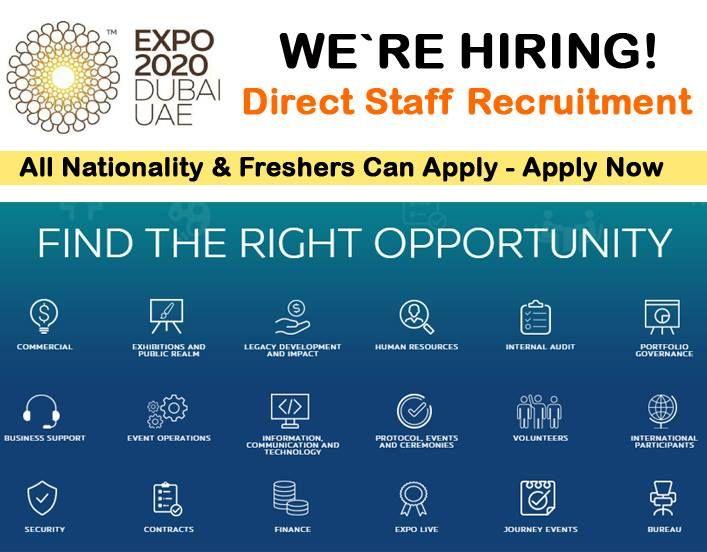 ️JOBS IN DUBAI EXPO 2020 ️Various Sector Jobs Available