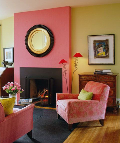 Pink Yellow Wall Color Living Room