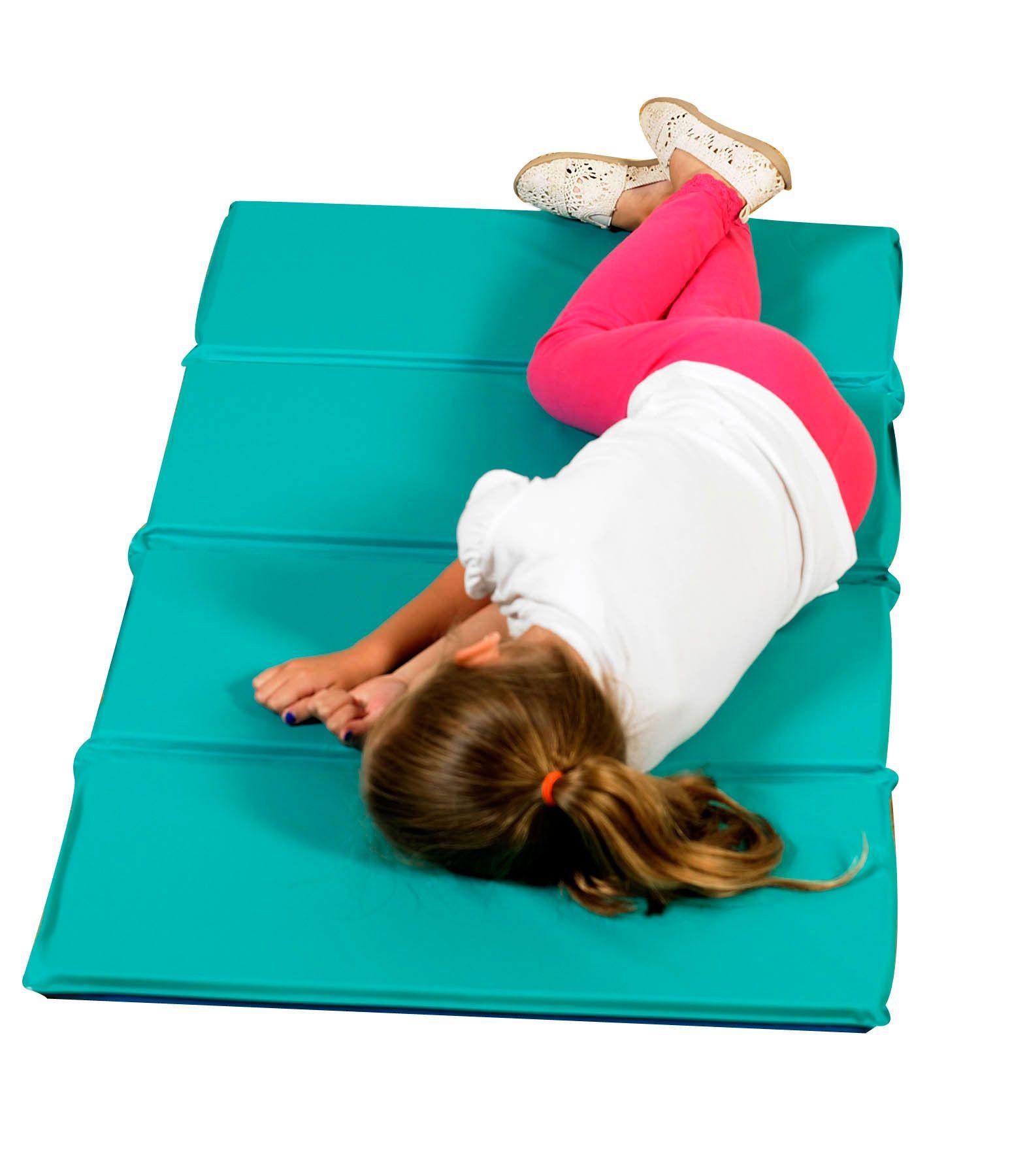 """Angels Rest® Nap Mat 1"""" Teal/Blue 4Section Folding Mat"""