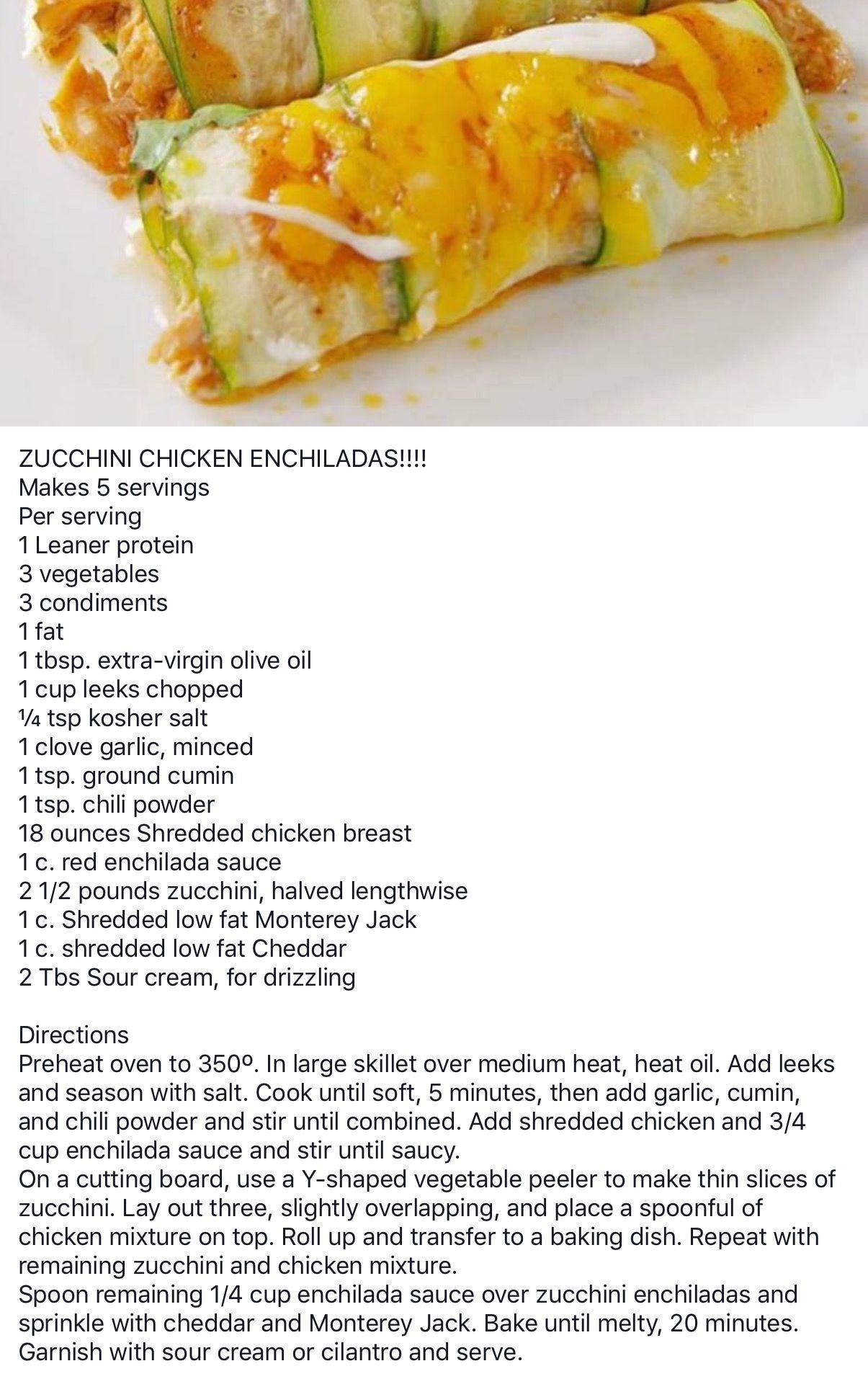 Lean And Green Zucchini Chicken Enchiladas Greens