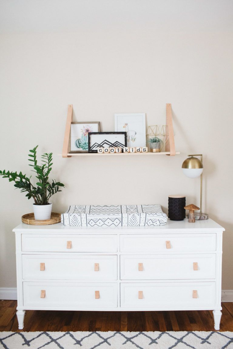 Leather Drawer Pulls In This Dresser/changing Table. Love The Look!