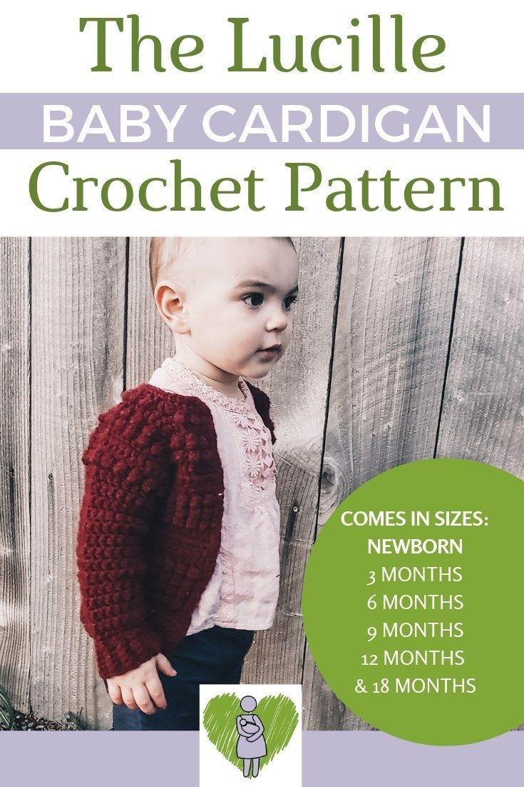 Lucille Baby Cardigan Crochet Pattern #crochetbabycardigan