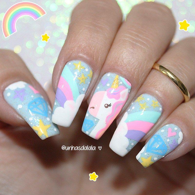 Unhas Unicrnio Fofneo Unicorn Nails Softball Nails And Pastel Nails