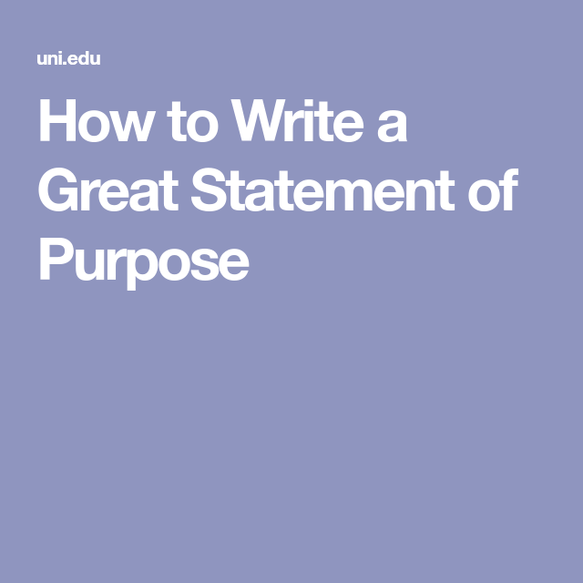 how to write a great statement of purpose