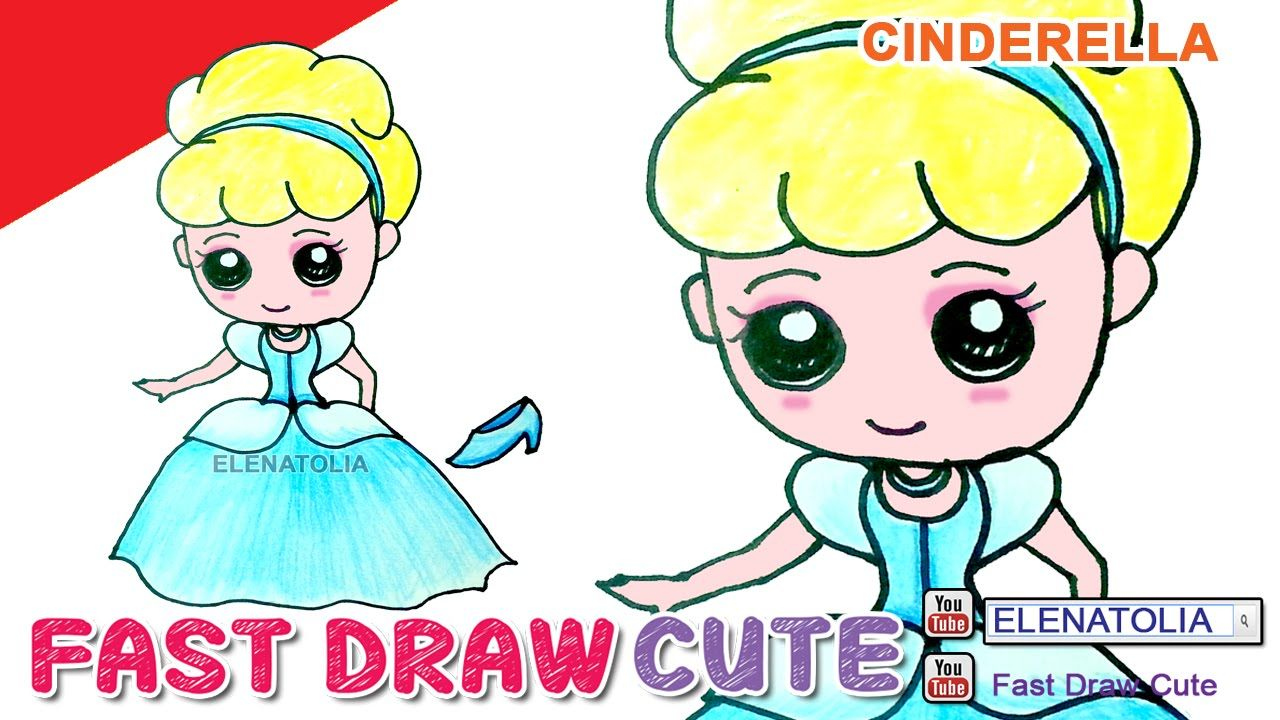 How To Draw Cinderella Step By Step Cute And Easy In Color Pencil Fast Draw Cute 8 Cartoon Drawings Cartoon Drawings Disney Cartoon Girl Drawing
