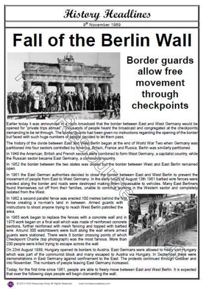 berlin wall fall wall newspaper History of Wars Newspapers - newspaper
