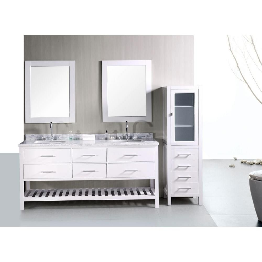 64 inch double sink bathroom vanity. Design Element London 72 in W x 22 D Vanity Pearl White with Marble  Top and Mirror Carrara Double Sink