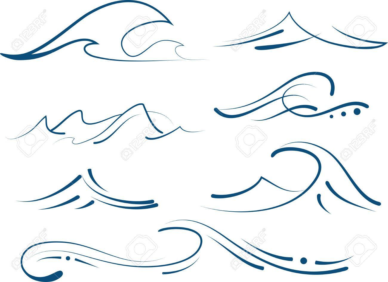 Stock Vector | Ocean tattoos, Ocean wave tattoo, Hawaiian ...Waves Drawing Tattoo