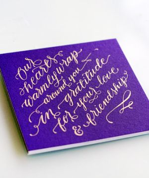 Oh So Beautiful Paper: Jennifer + Eric's Colorful Gold Foil Calligraphy Wedding Invitations