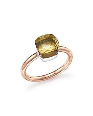 18kt rose gold & white gold Nudo lemon quartz ring - Yellow & Orange POMELLATO 2FJk3wv