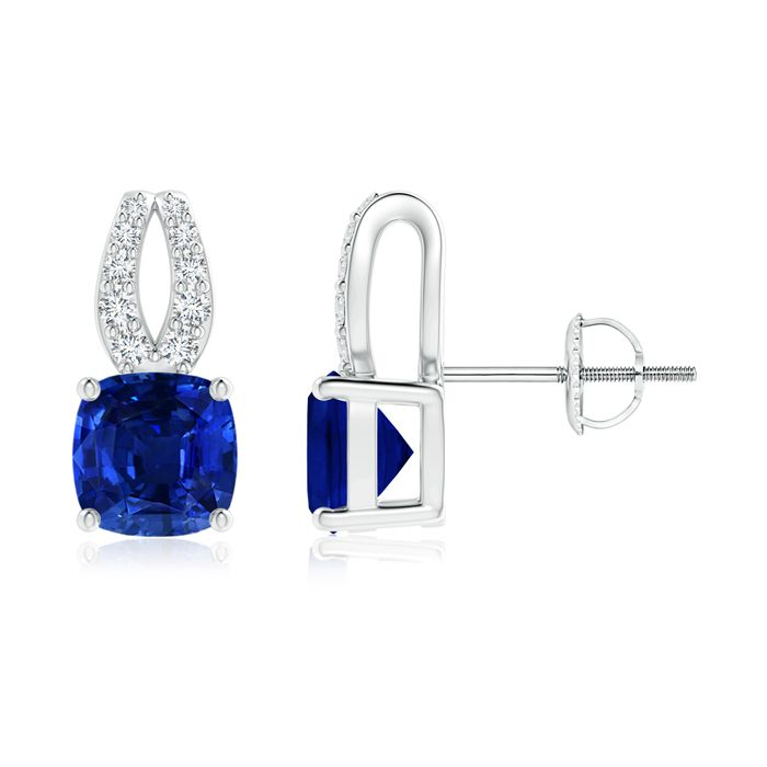 Angara Blue Sapphire Stud Earrings in Platinum 1lq3f