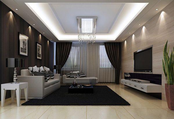 Living Room In Minimalist Style Dark Grey Walls Black Curtains White Furniture