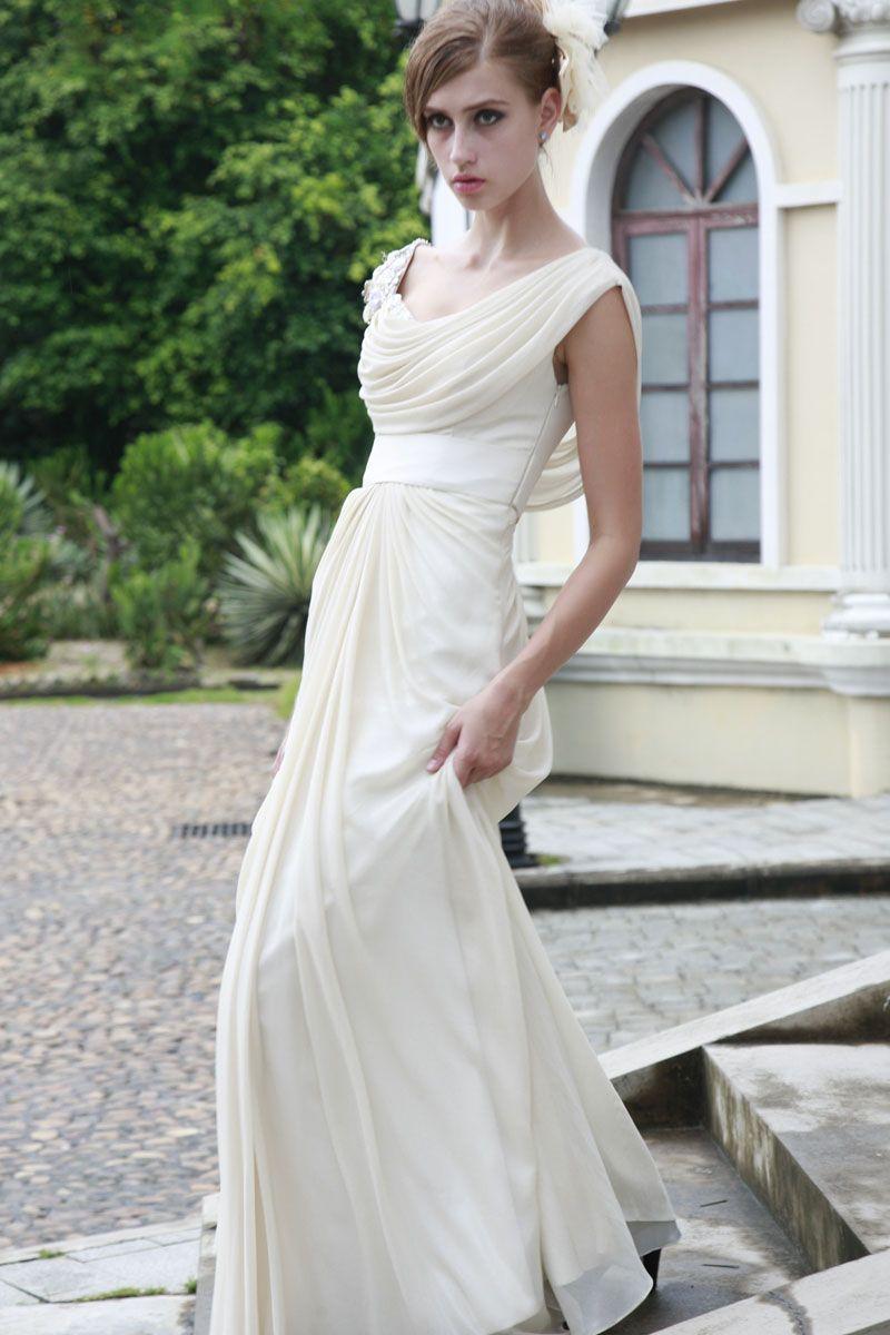 Affordable scoop neckline empire wasit chiffon satin evening dress