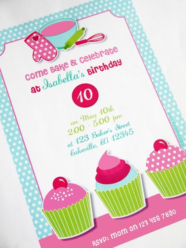 Printable Baking Birthday Party Invitations!! #Baking #Printables ...