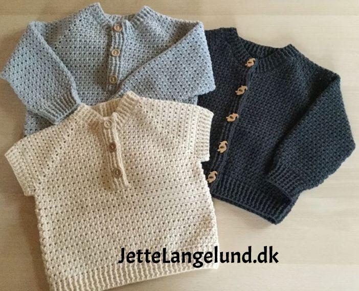 Babybørne trøje og bluse i krydsstangmasker