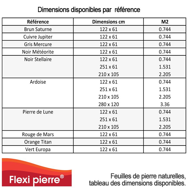 Feuille De Pierre Flexi Pierre Dimensions Disponibles Par Reference Feuille De Pierre Pierre Colle Epoxy
