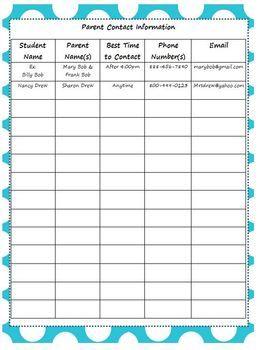 Free Parent Contact Info Sheet Class Plus Parent Communication