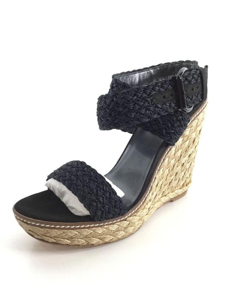 e3697843886 N36 NEW Stuart Weitzman Alex Nero Crochet Espadrille Wedge Sandal Women s  Sz 9 M  fashion