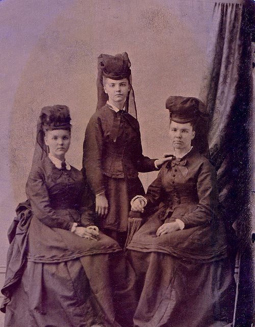 Three sisters or perhaps mother and daughters in mourning ca. 1870.
