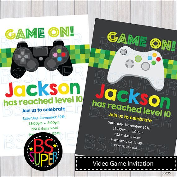 Video game invitation video game birthday party invitation gamer video game invitation video game birthday party by bssuperclipart stopboris Image collections