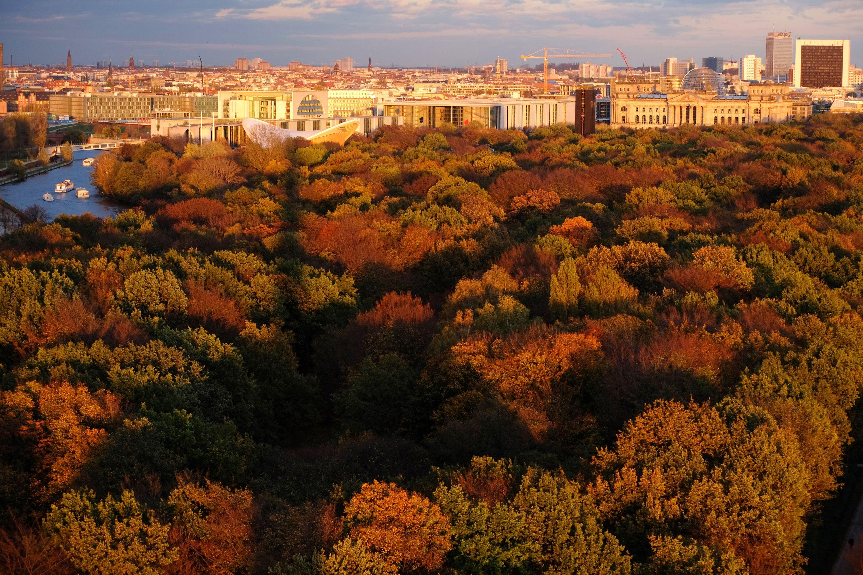 28. Oktober 2013, #Berlin: Die schöne Seite des Herbstes: Der warm eingefärbte #Berliner #Tiergarten lädt zum Spaziergang ein. Im Hintergrund sind die #Spree (l-r), das Kanzleramt, davor die sogenannte schwangere Auster (Kongresshalle), das Paul-Löbe-Haus und der Reichstag aus der Perspektive der Siegessäule zu sehen.  (Foto: Rainer Jensen/dpa) http://www.noz.de/artikel/424208/