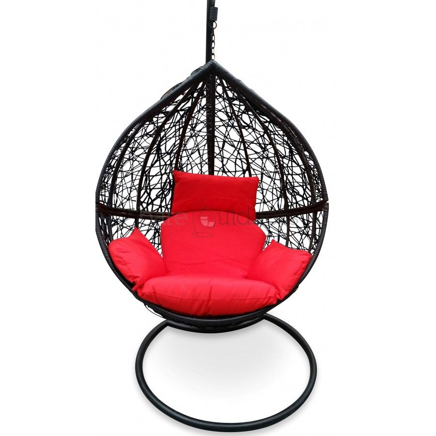 Outdoor Hanging Ball Chair Black Red Hanging Egg