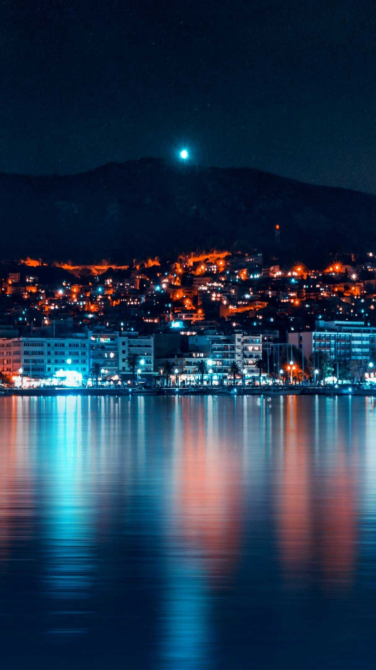 Night city panorama coast Iphone Wallpapers Hd in 2020