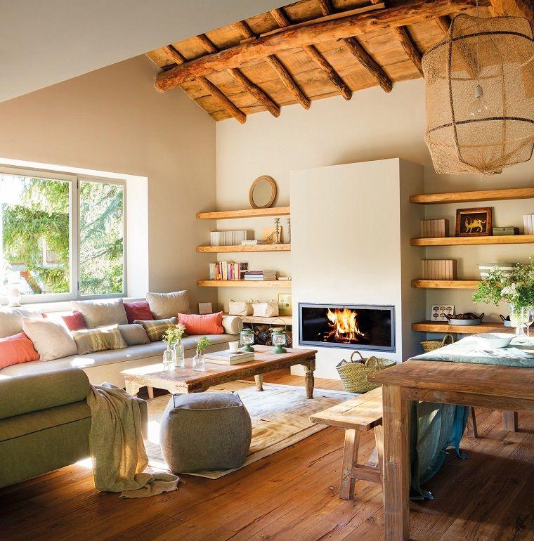 Idee Per Ristrutturare Casa Rustica.Idee Per Arredare Casa E Un Open Space Con Camino Moderno
