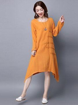 6d32a695aae Ericdress Ethic Soild Color Long Sleeve Asymmetric Casual Dress ...