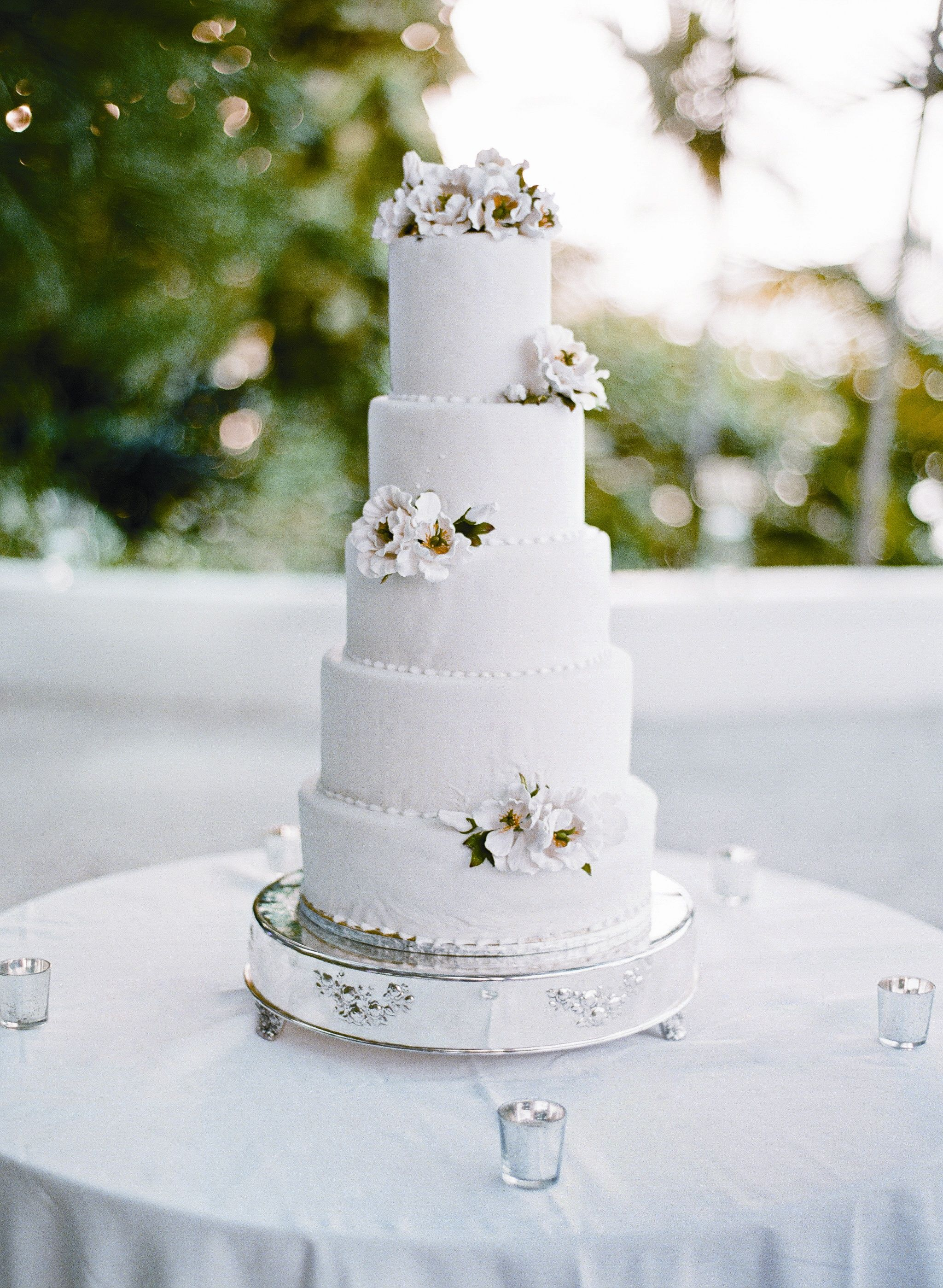 Five Tier White Wedding Cake With Sugar Flowers Kt Merry Photography Theknot Com Wedding Cake Toppers Sugar Flower Wedding Cake Wedding Cake Shot