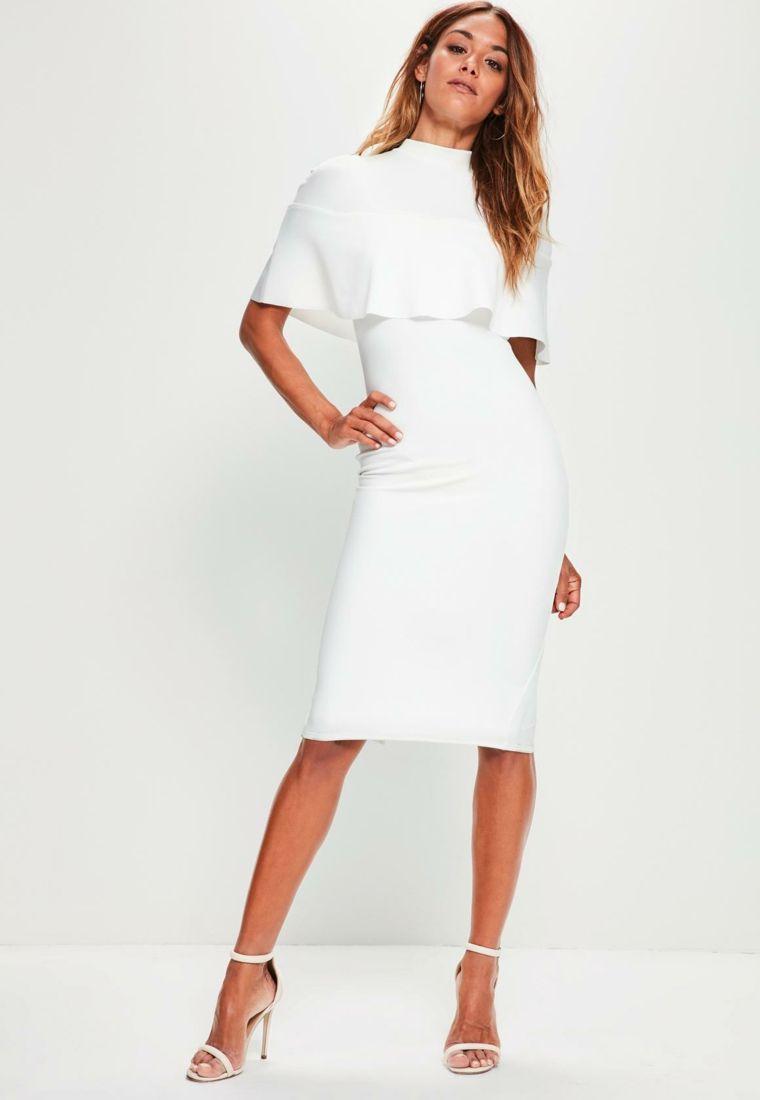 quality design fc256 28aca Abito bianco con maniche a pipistrello, vestito elegante in ...