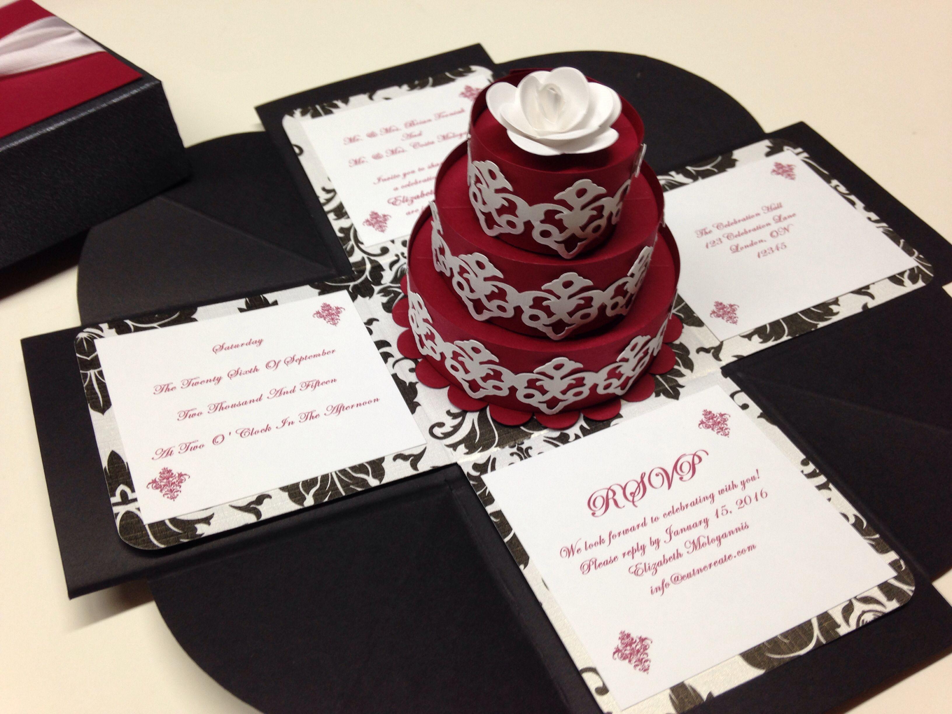 exploding boxes! black, red and black & white damask wedding, Wedding invitations