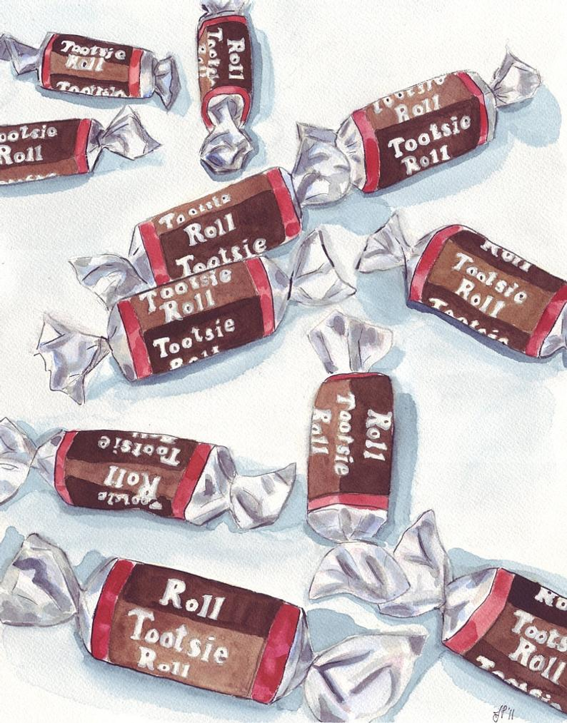 Watercolor Painting Tootsie Rolls Art Watercolor Art Print Etsy In 2020 Watercolor Art Prints Tootsie Roll Candy Art