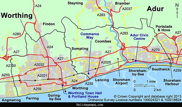 Awesome Map Of Worthing Map Worth Menaggio
