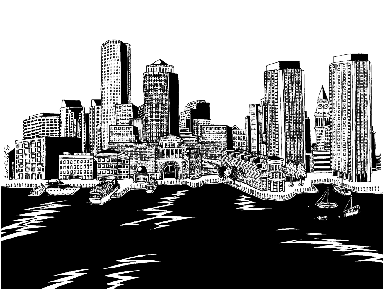 A Pen Ink Drawing Of The Boston Skyline Featuring Rowes Wharf