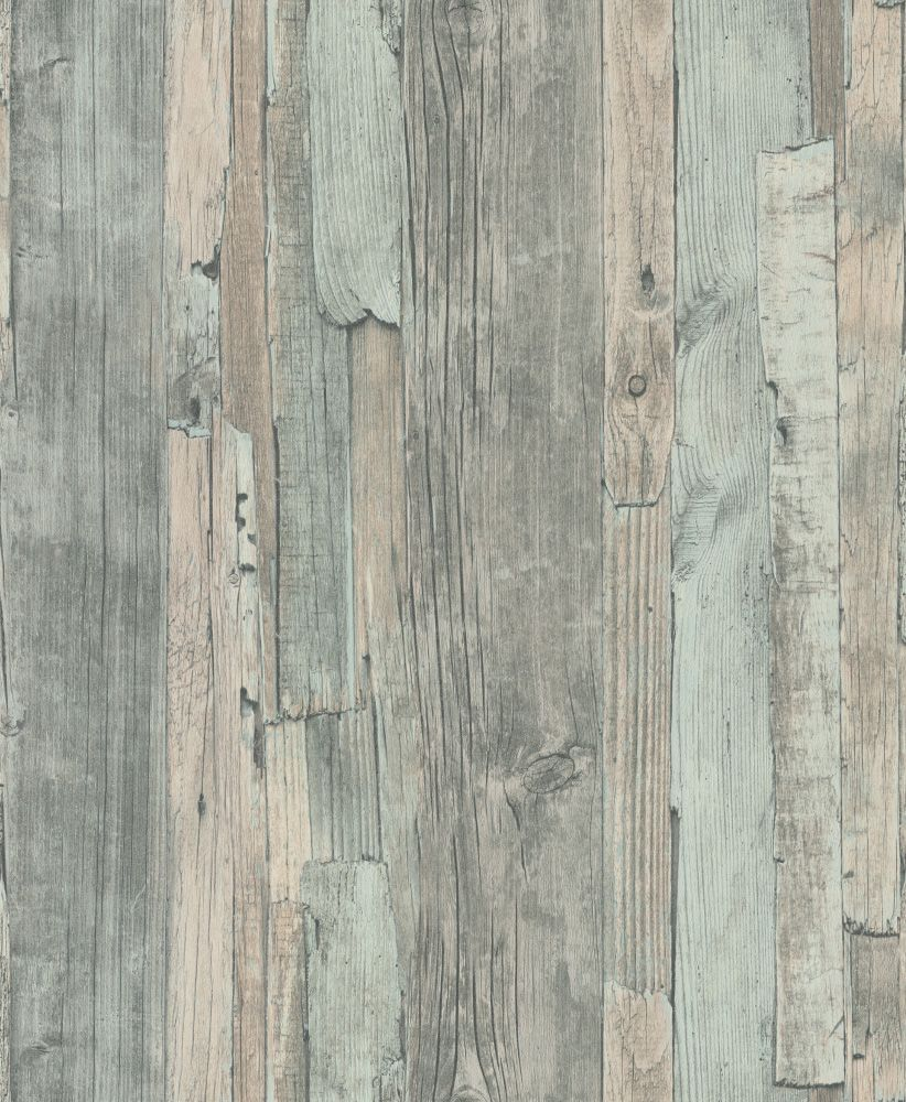 Distressed Wood Duck Egg by Albany  Duck Egg  Wallpaper  Wallpaper Direct is part of Wood wallpaper - A weathered, distressed wood design in shades of grey with duck egg blue green  Textured vinyl  Please request sample for true colour match  Pastethewall product