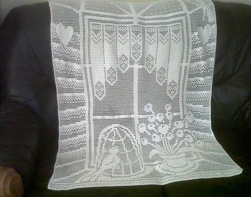 Hand Crochet Filet Piececurtain Pattern 87x127cm No 8 Crochet