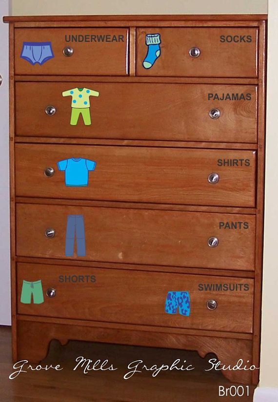 Dresser Clothing Decals Labels Boys Room Decals Dresser Labels
