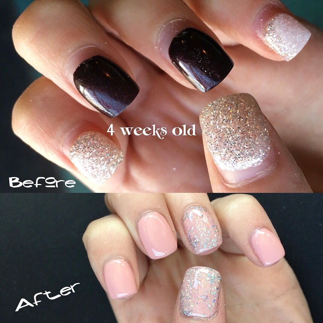 Gel Polish Before And After 4 Weeks Grown Out Gel Nails Gel Polish Nails