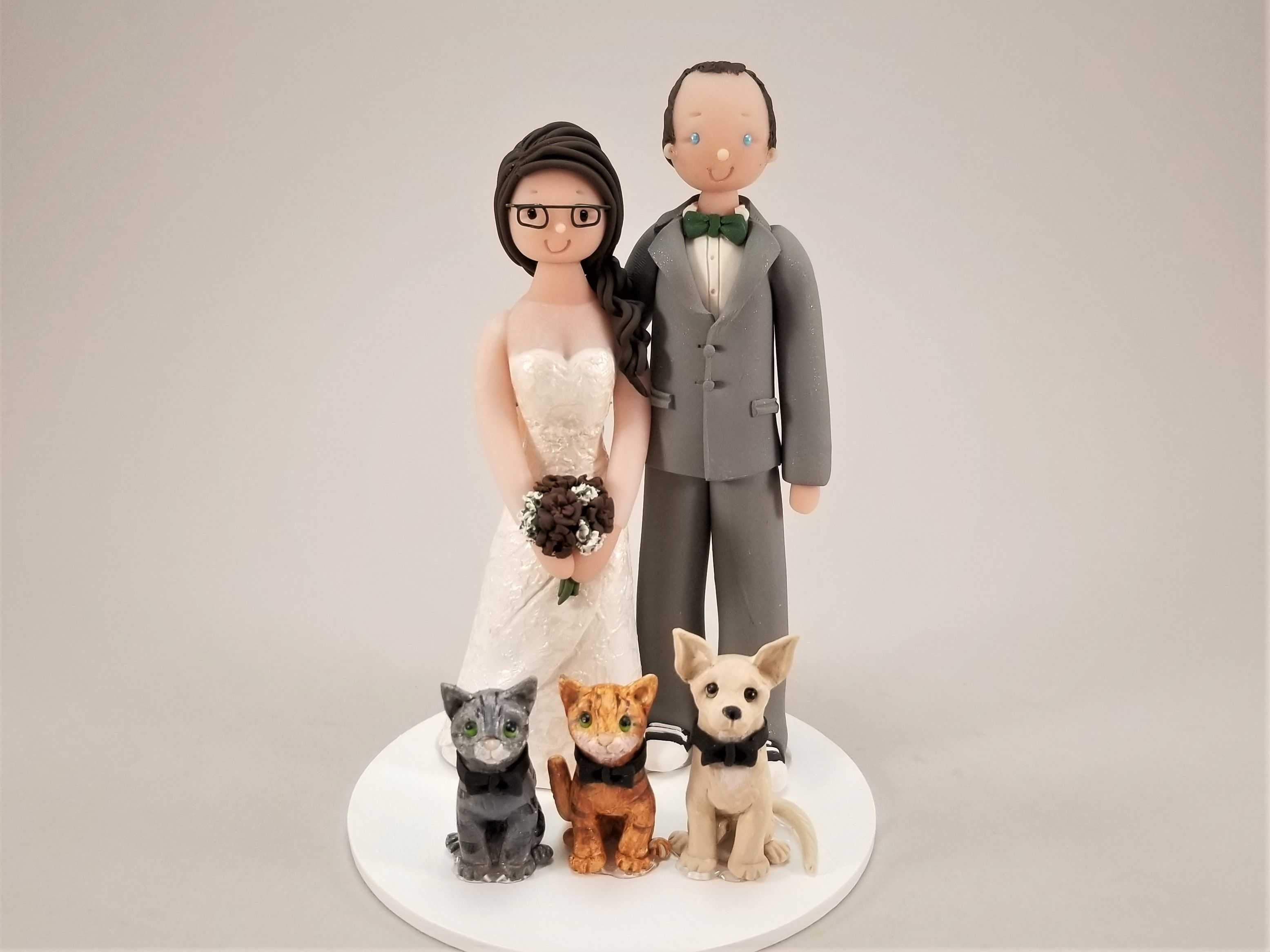 Couple with pets personalized wedding cake topper by mudcards