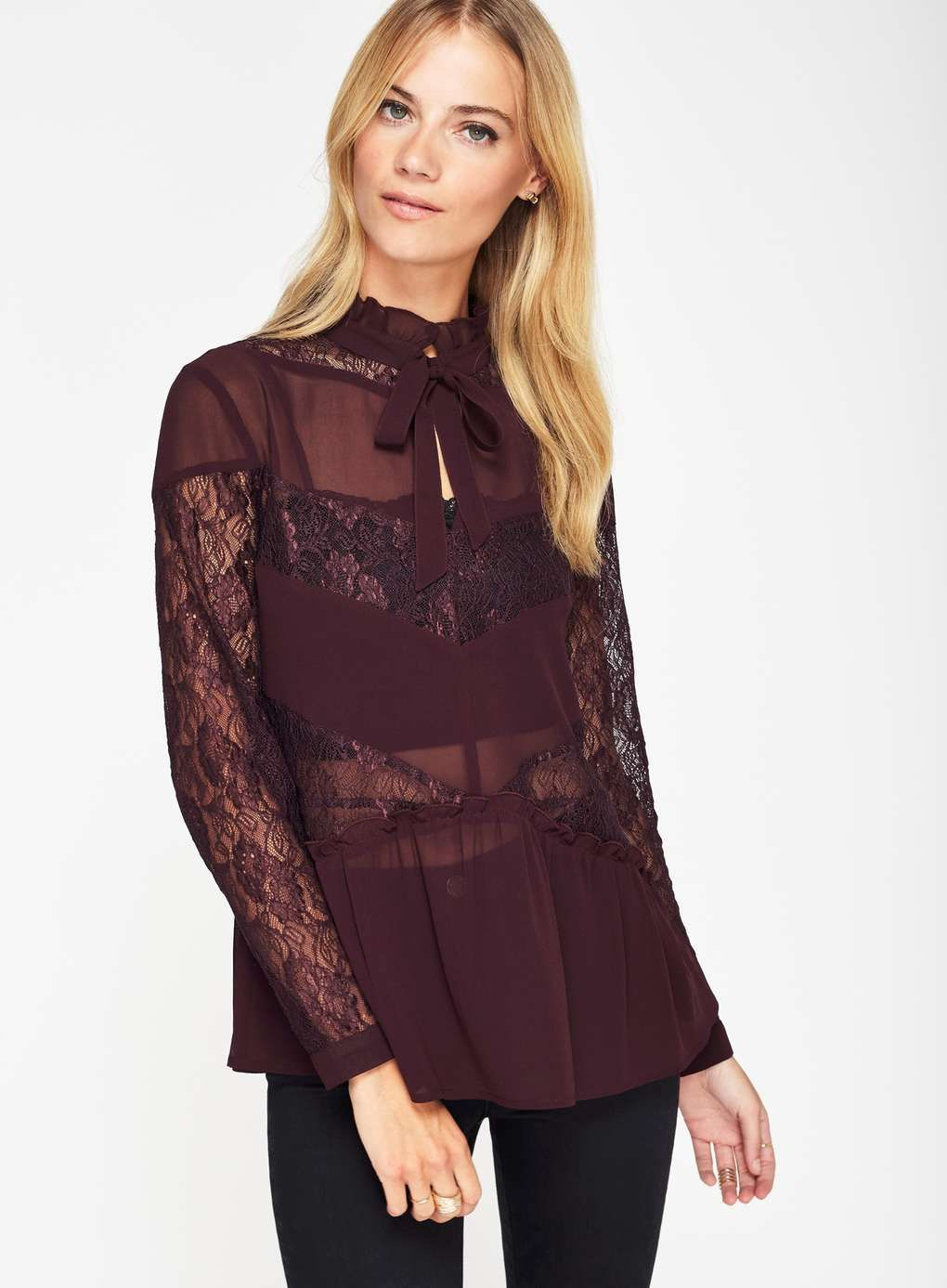 Burgundy Lace Pussybow Blouse Capsule Collections Apparel What