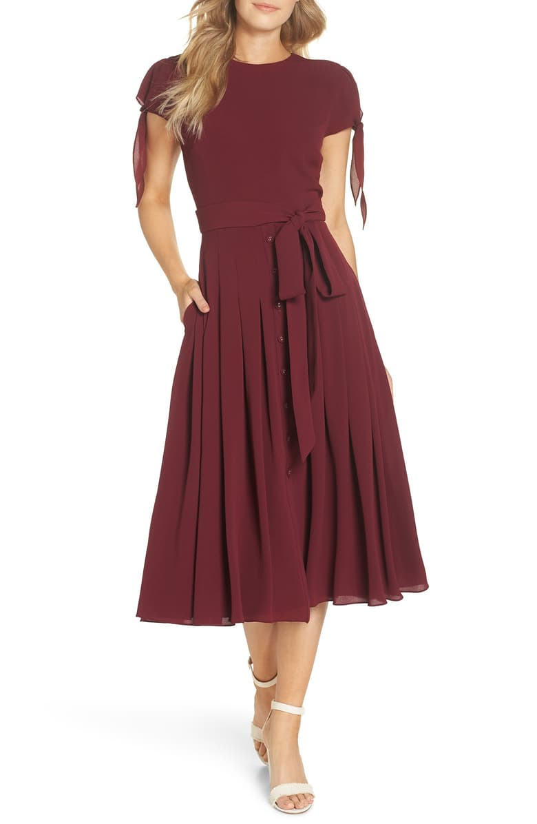 Gal Meets Glam Collection Bette Pleated Midi Dress Nordstrom Exclusive Nordstrom Fall Wedding Guest Dress Pleated Midi Dress Cocktail Dresses With Sleeves [ 1196 x 780 Pixel ]