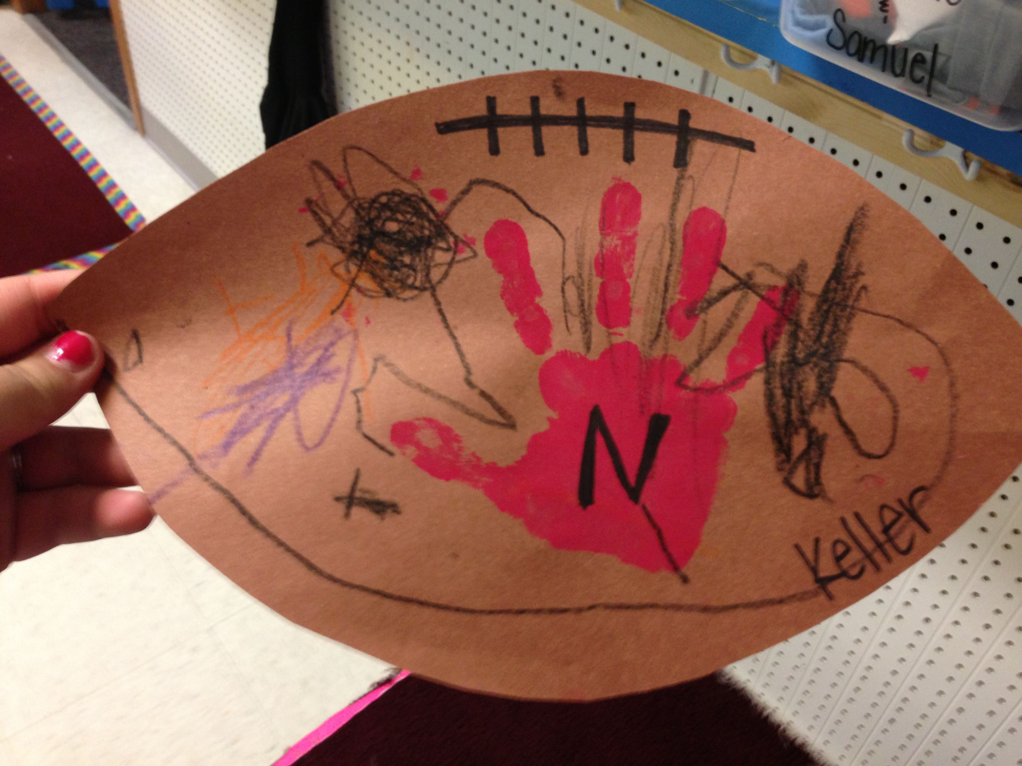 Football Craft For My 4 Year Olds Go Big Red