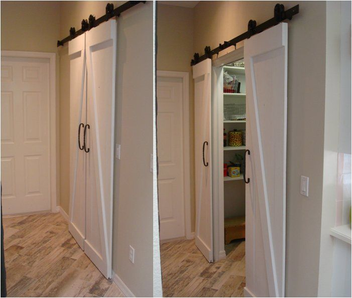 Replaced Obnoxious Bi Fold Doors With Barn Doors Used A Dual Door Approach To Accommodate Small Wall Space Either Side Of Jackson House Home Diy Home Projects