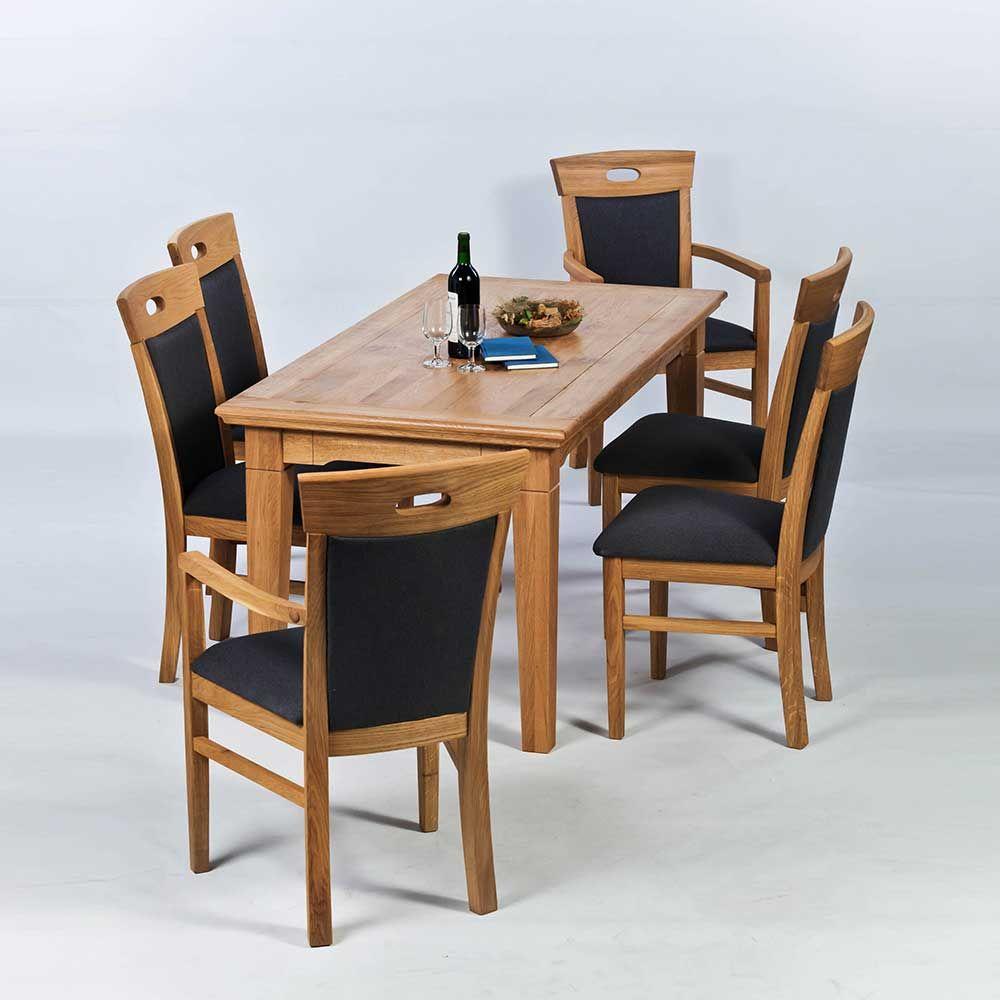 Esstisch mit Stühlen aus Wildeiche Braun (7teilig) Jetzt