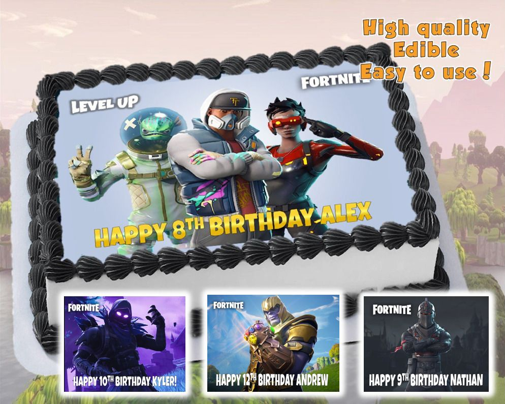 Fortnite Edible Cake Topper Decoration Personalized Party Item