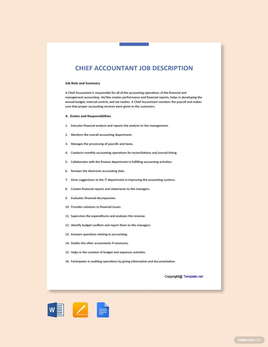 Chief accountant job ad and description template free pdf