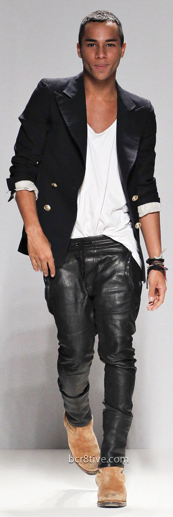The talented, and adorable, Olivier Rousteing Head Designer House of Balmain! Leather jeans v