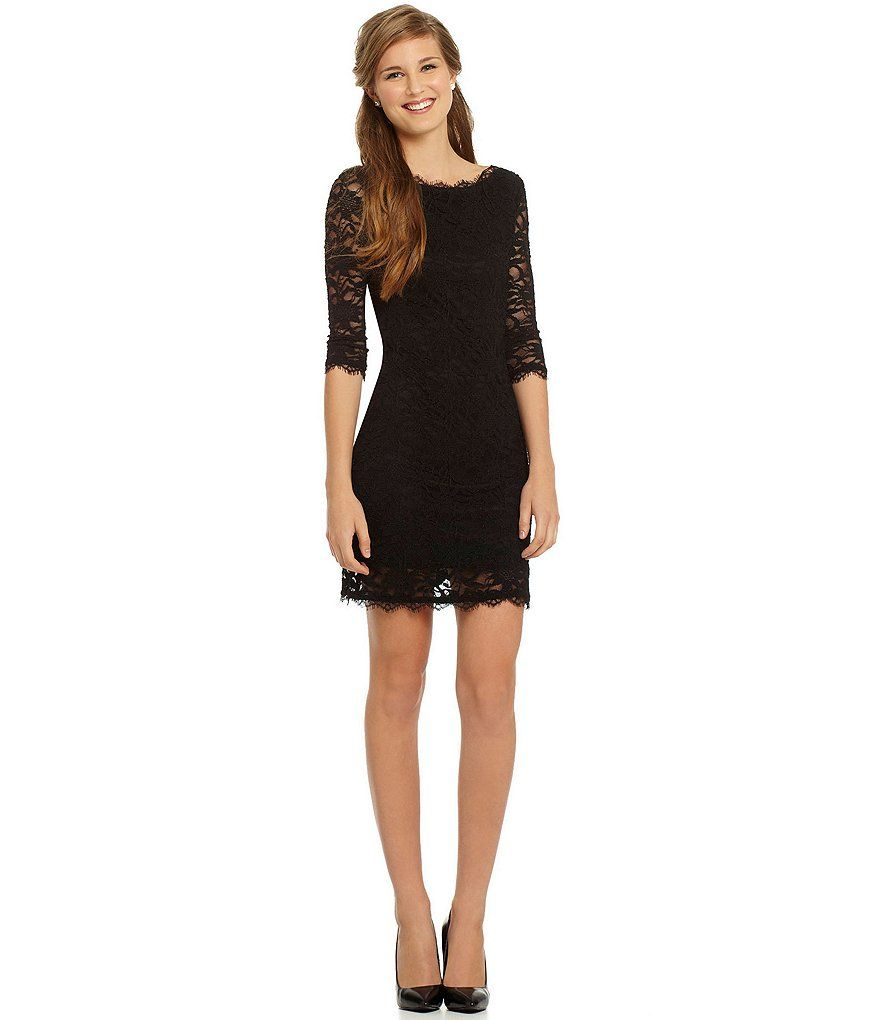 Jump Eyelash Lace Illusion 3/4-Sleeve Sheath Dress | Black lace ...