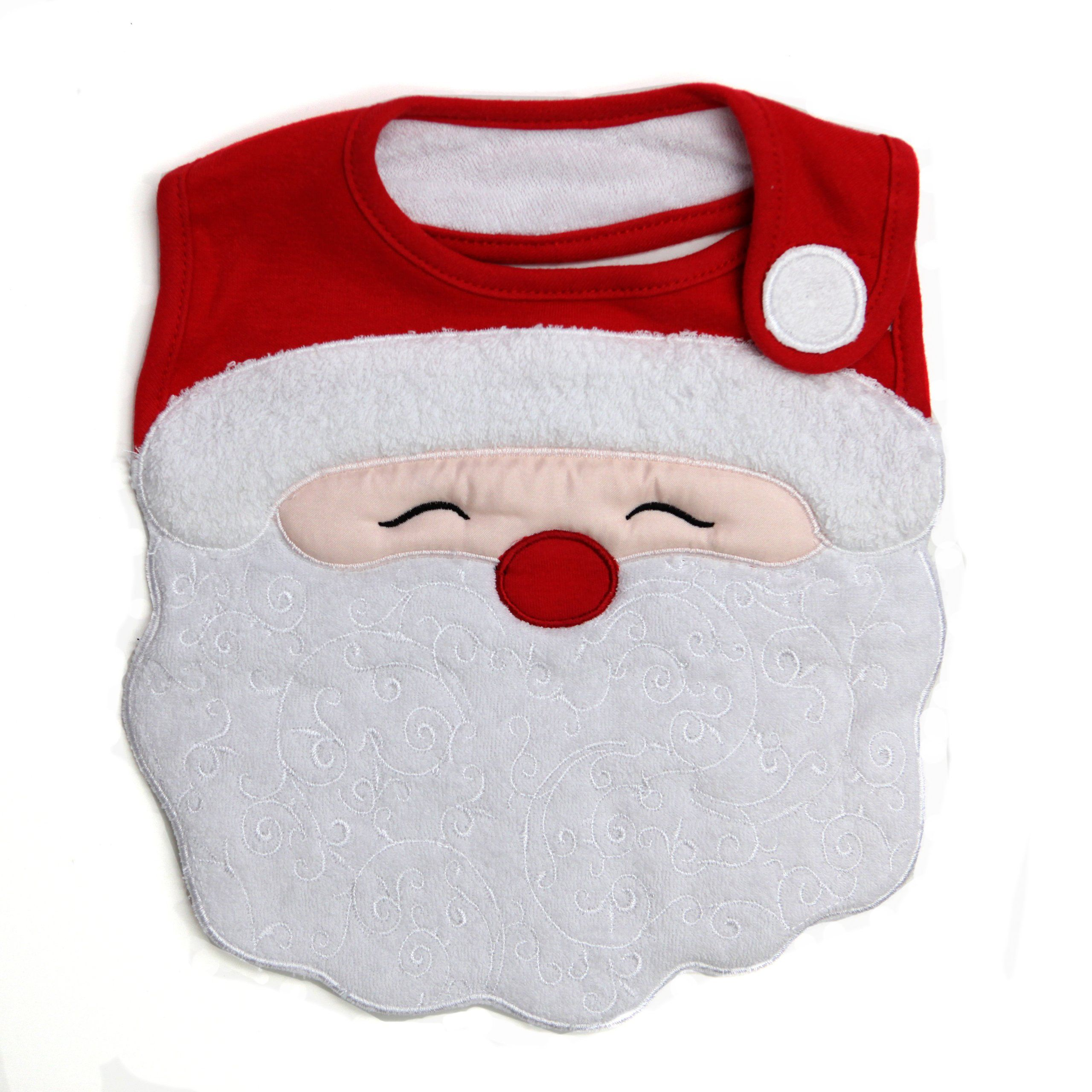 Santa's Face Side-Close Feeder Bib, Frenchie Mini Couture. Just in time for Christmas! (Additional styles available, sold separately). 100% cotton with cute embroidery design. Machine washable. Soft, cozy and adorable. Comfortable and adjustable fit with velcro closure.